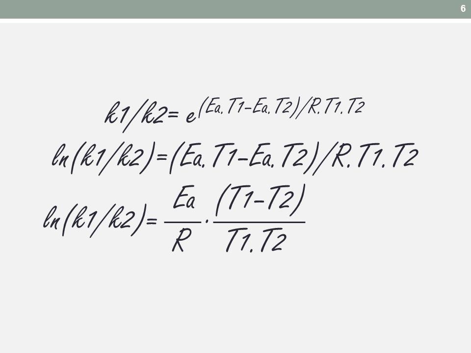 6 k1/k2= e(Ea.T1–Ea.T2)/R.T1.T2 ln(k1/k2)=(Ea.T1–Ea.T2)/R.T1.T2 Ea (T1–T2) R T1.T2 . ln(k1/k2) =
