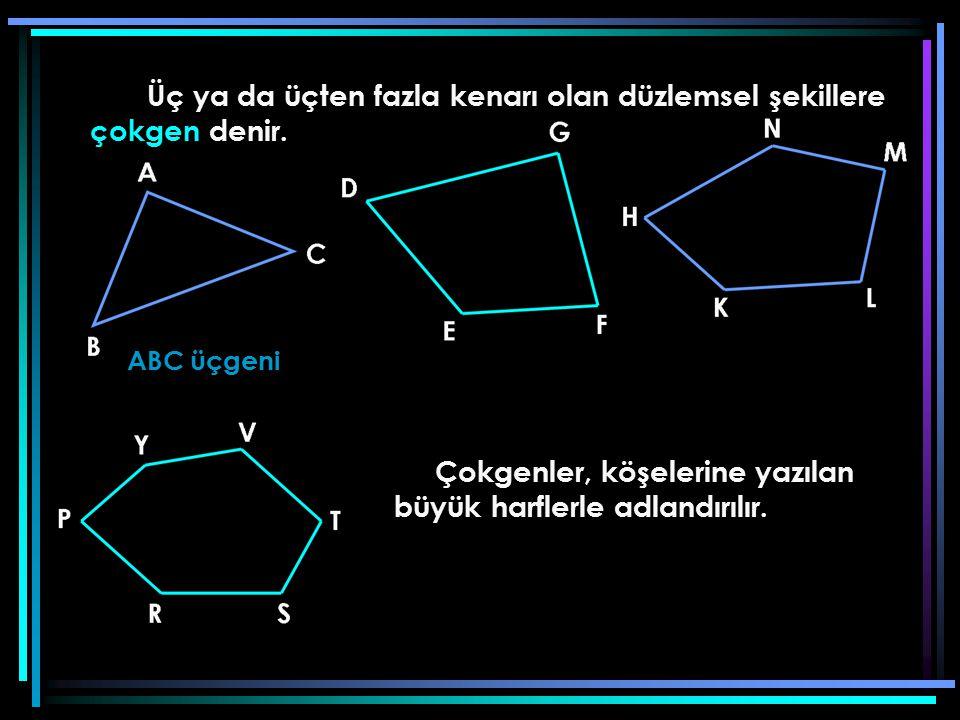 Üç ya da üçten fazla kenarı olan düzlemsel şekillere çokgen denir.