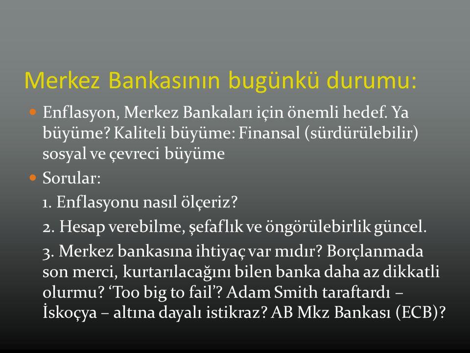 Merkez Bankasının bugünkü durumu: