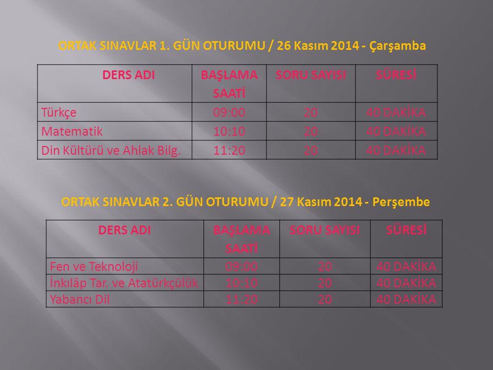 ORTAK SINAVLAR 1. GÜN OTURUMU / 26 Kasım 2014 - Çarşamba