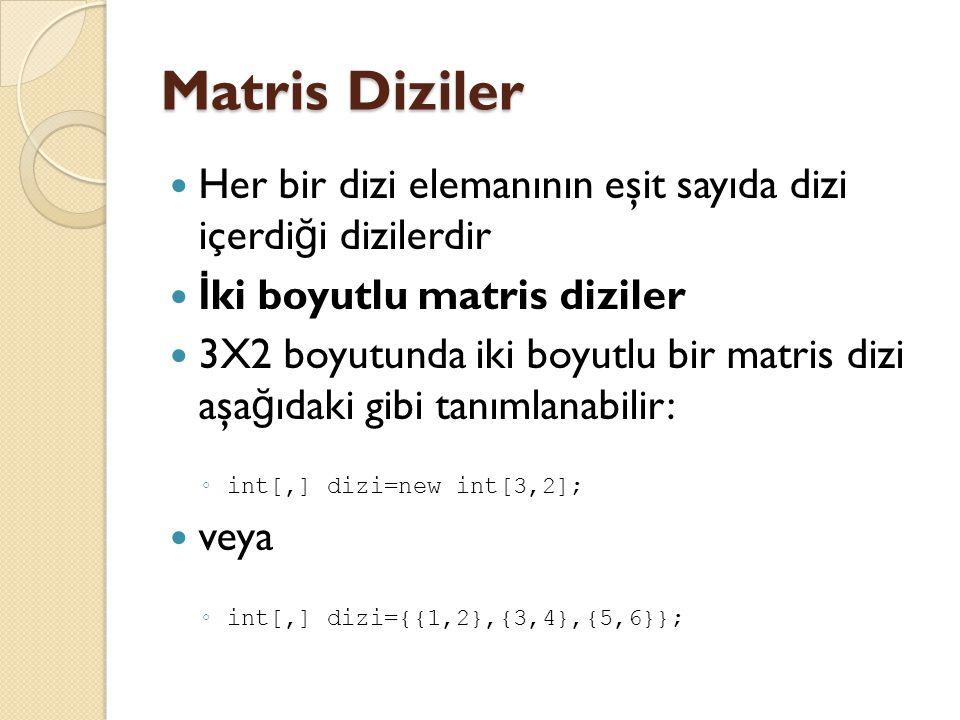Matris Diziler Her bir dizi elemanının eşit sayıda dizi içerdiği dizilerdir. İki boyutlu matris diziler.