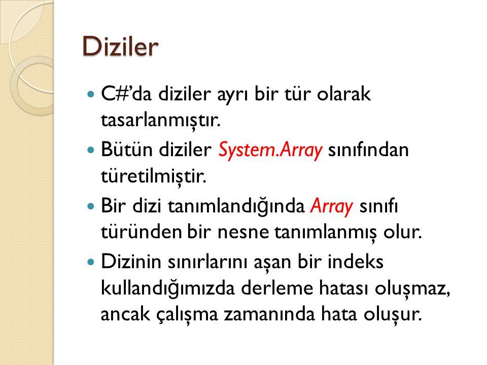 Diziler C#'da diziler ayrı bir tür olarak tasarlanmıştır.