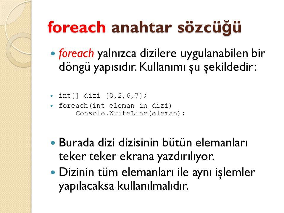 foreach anahtar sözcüğü