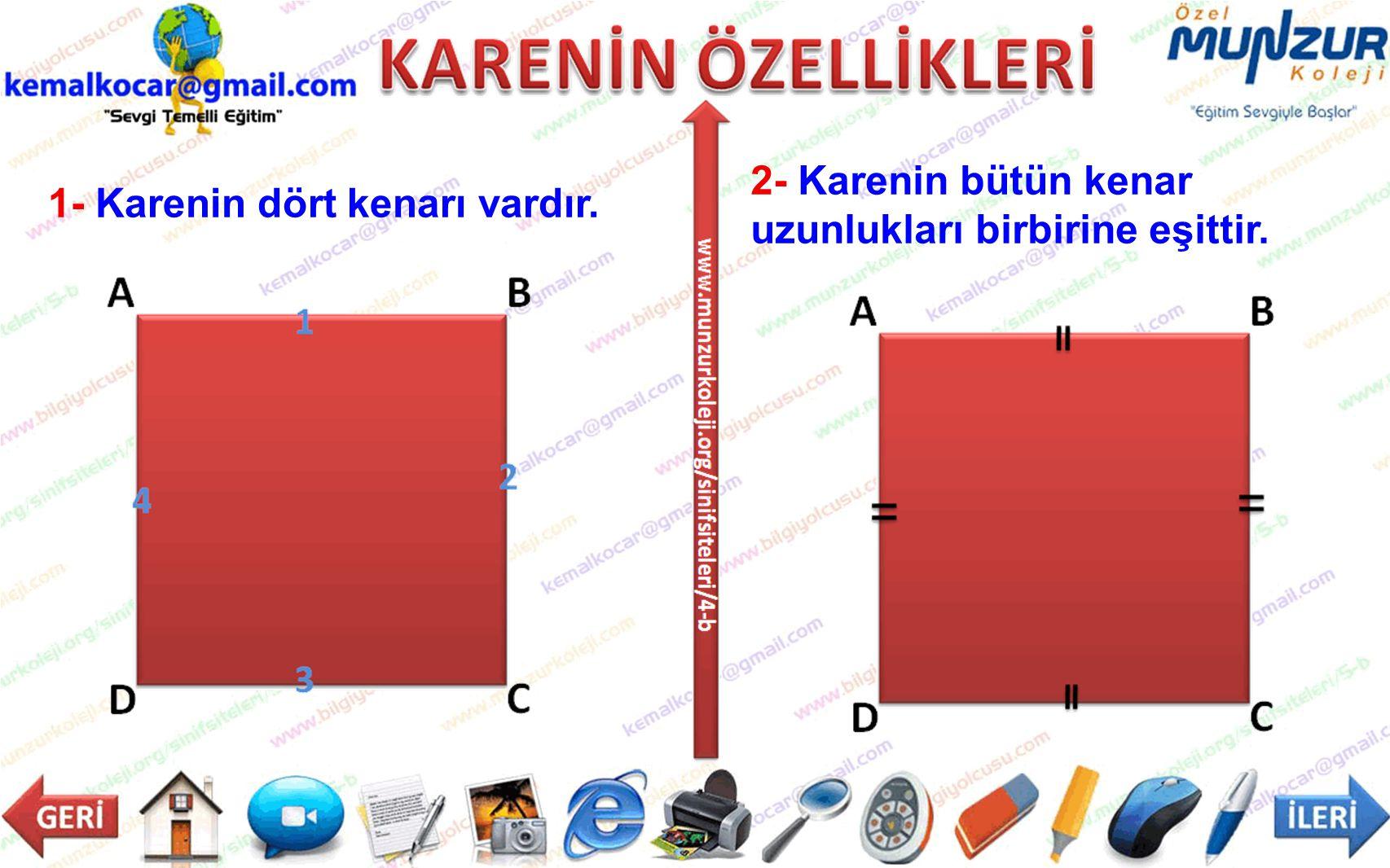 2- Karenin bütün kenar uzunlukları birbirine eşittir. 1- Karenin dört kenarı vardır.