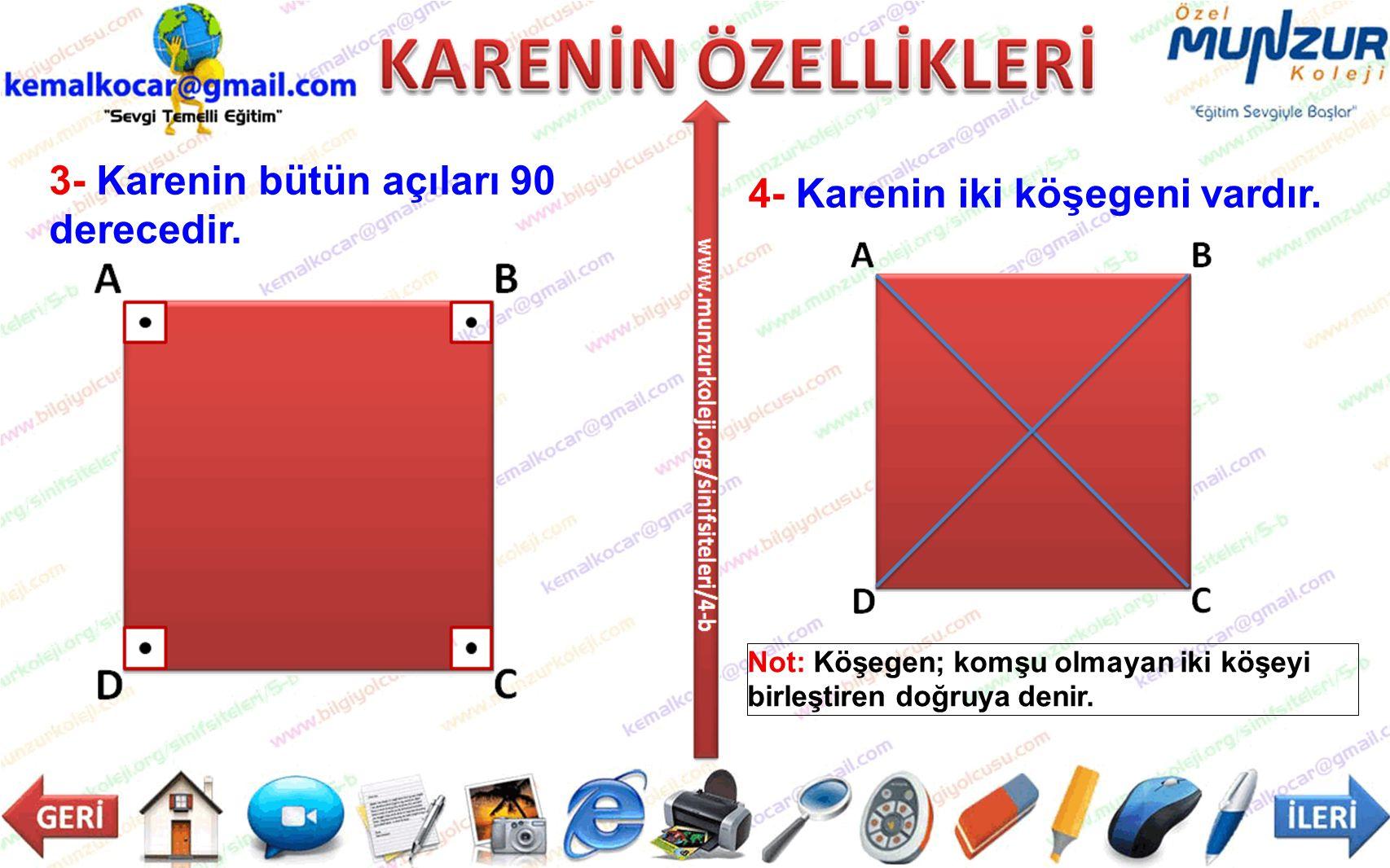3- Karenin bütün açıları 90 derecedir. 4- Karenin iki köşegeni vardır.