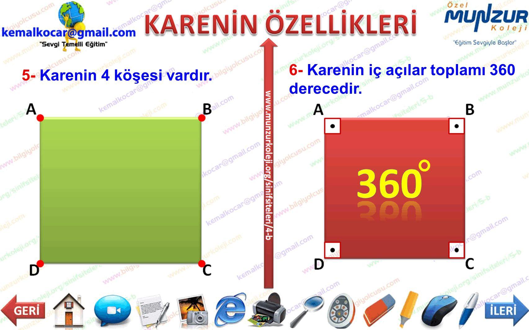 6- Karenin iç açılar toplamı 360