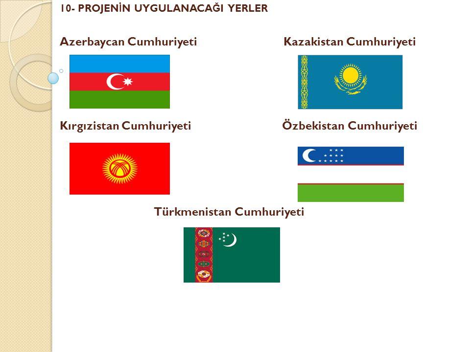 10- PROJENİN UYGULANACAĞI YERLER Azerbaycan Cumhuriyeti