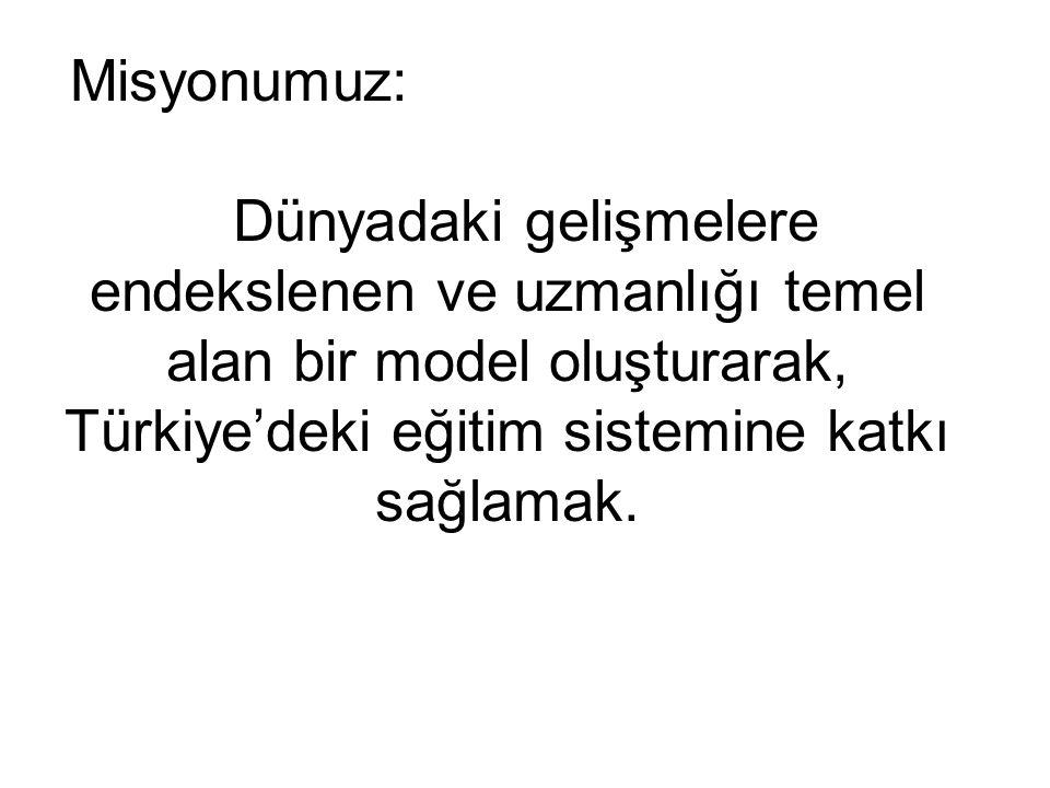Misyonumuz: Dünyadaki gelişmelere endekslenen ve uzmanlığı temel alan bir model oluşturarak, Türkiye'deki eğitim sistemine katkı sağlamak.