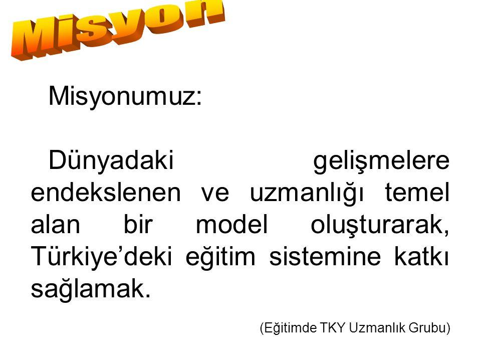 Misyon Misyonumuz: Dünyadaki gelişmelere endekslenen ve uzmanlığı temel alan bir model oluşturarak, Türkiye'deki eğitim sistemine katkı sağlamak.