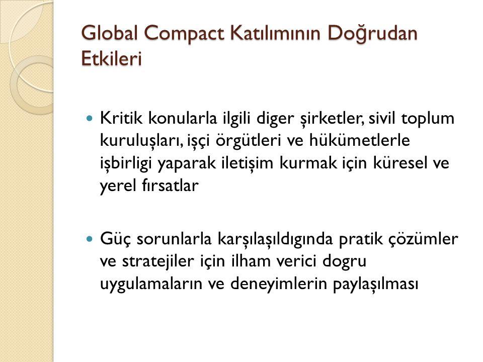 Global Compact Katılımının Doğrudan Etkileri