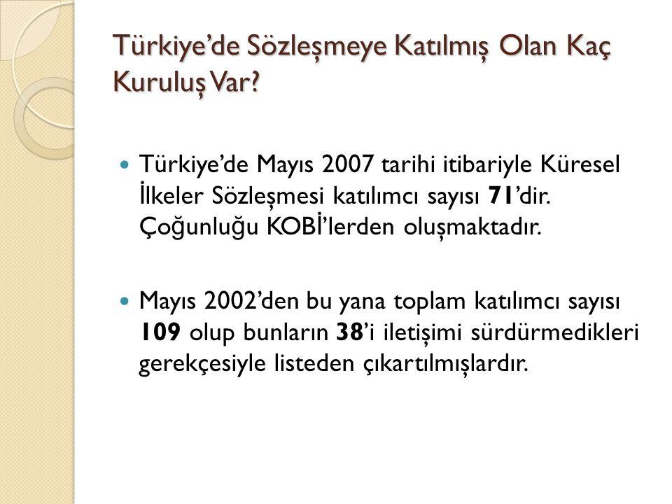 Türkiye'de Sözleşmeye Katılmış Olan Kaç Kuruluş Var