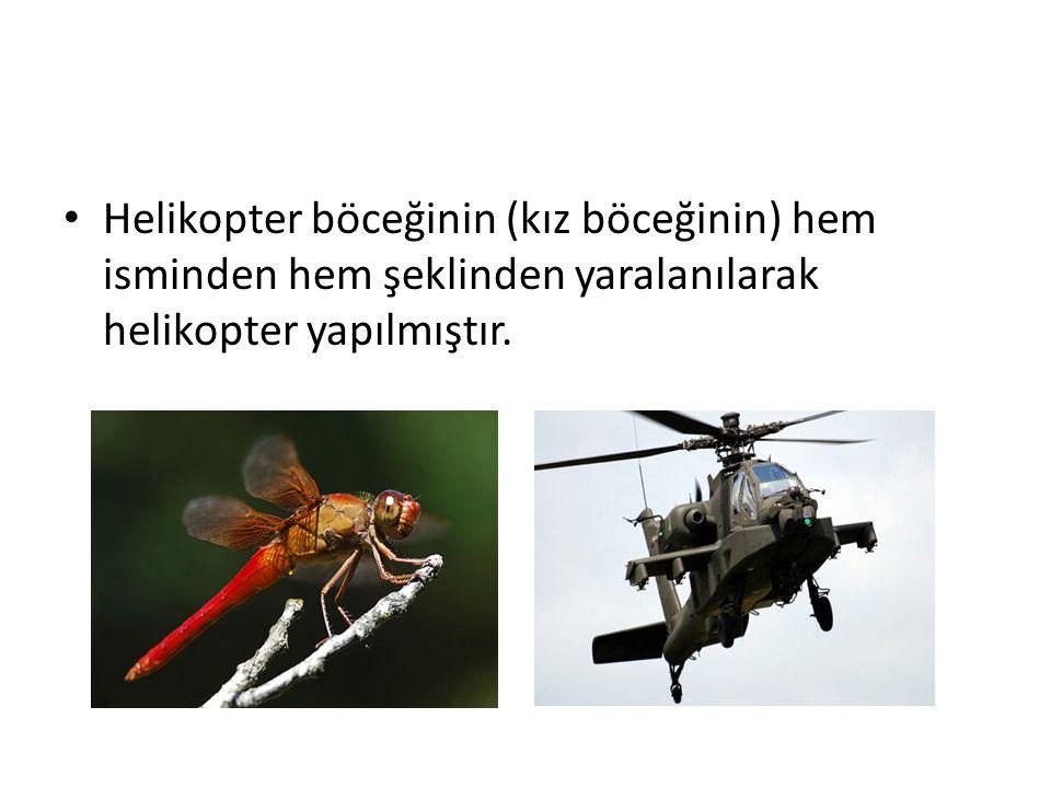 Helikopter böceğinin (kız böceğinin) hem isminden hem şeklinden yaralanılarak helikopter yapılmıştır.