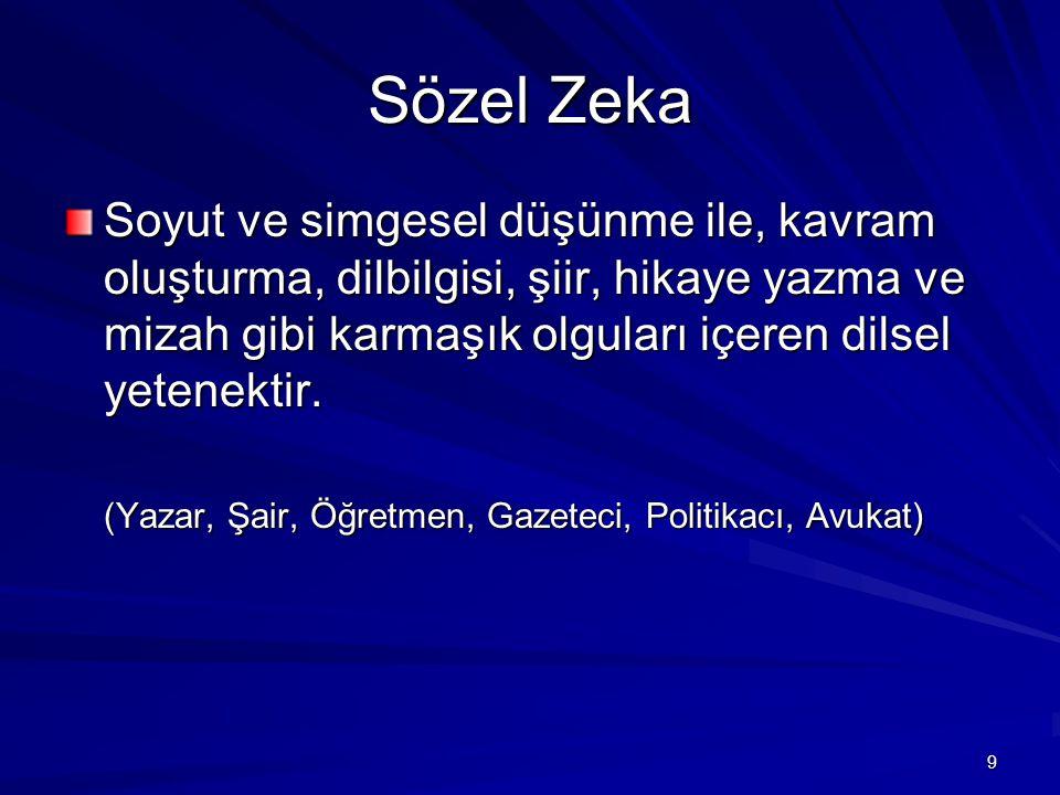 Sözel Zeka Soyut ve simgesel düşünme ile, kavram oluşturma, dilbilgisi, şiir, hikaye yazma ve mizah gibi karmaşık olguları içeren dilsel yetenektir.