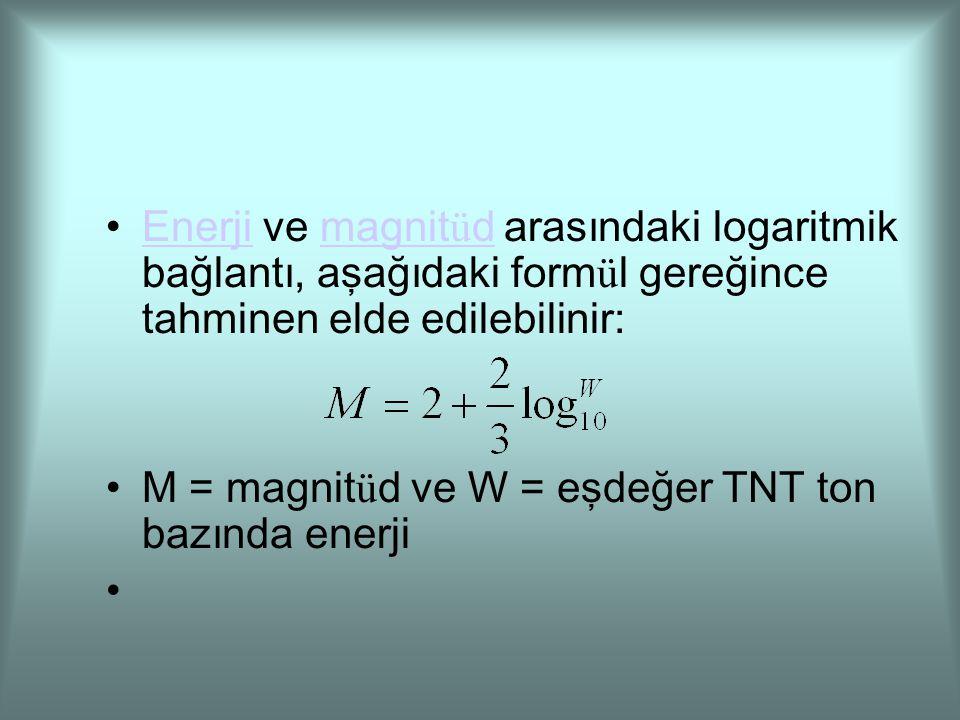 Enerji ve magnitüd arasındaki logaritmik bağlantı, aşağıdaki formül gereğince tahminen elde edilebilinir: