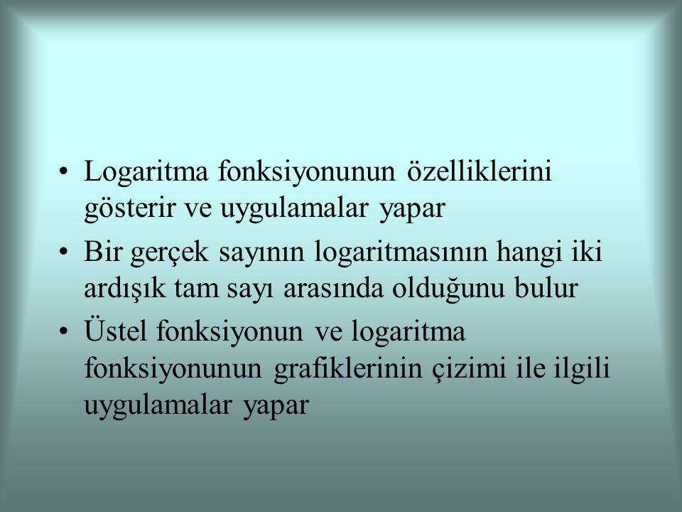 Logaritma fonksiyonunun özelliklerini gösterir ve uygulamalar yapar