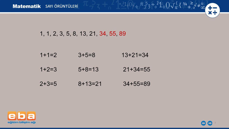 SAYI ÖRÜNTÜLERİ 1, 1, 2, 3, 5, 8, 13, 21, 34, 55, 89. 1+1=2 3+5=8 13+21=34.