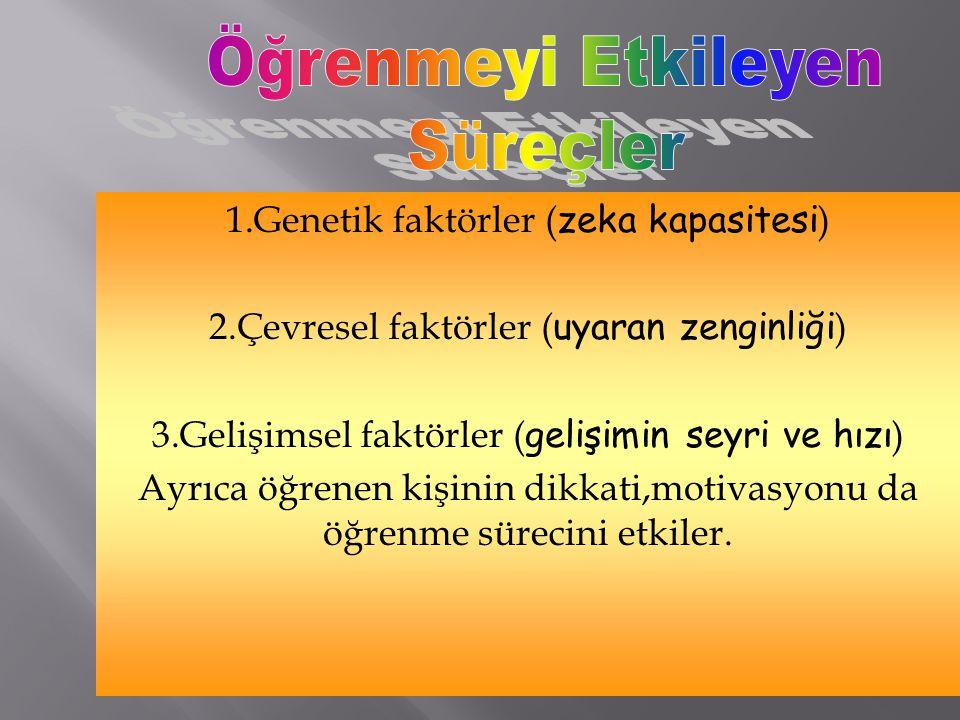 Öğrenmeyi Etkileyen Süreçler 1.Genetik faktörler (zeka kapasitesi)