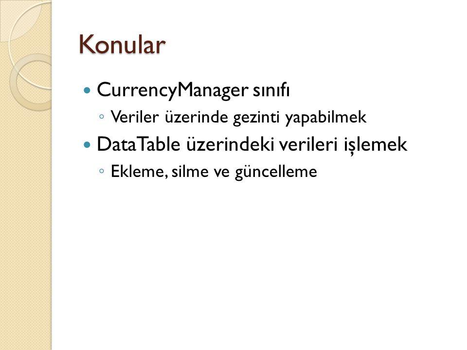 Konular CurrencyManager sınıfı DataTable üzerindeki verileri işlemek