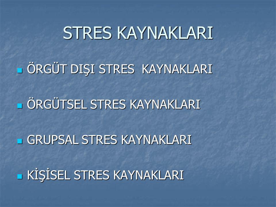 STRES KAYNAKLARI ÖRGÜT DIŞI STRES KAYNAKLARI ÖRGÜTSEL STRES KAYNAKLARI