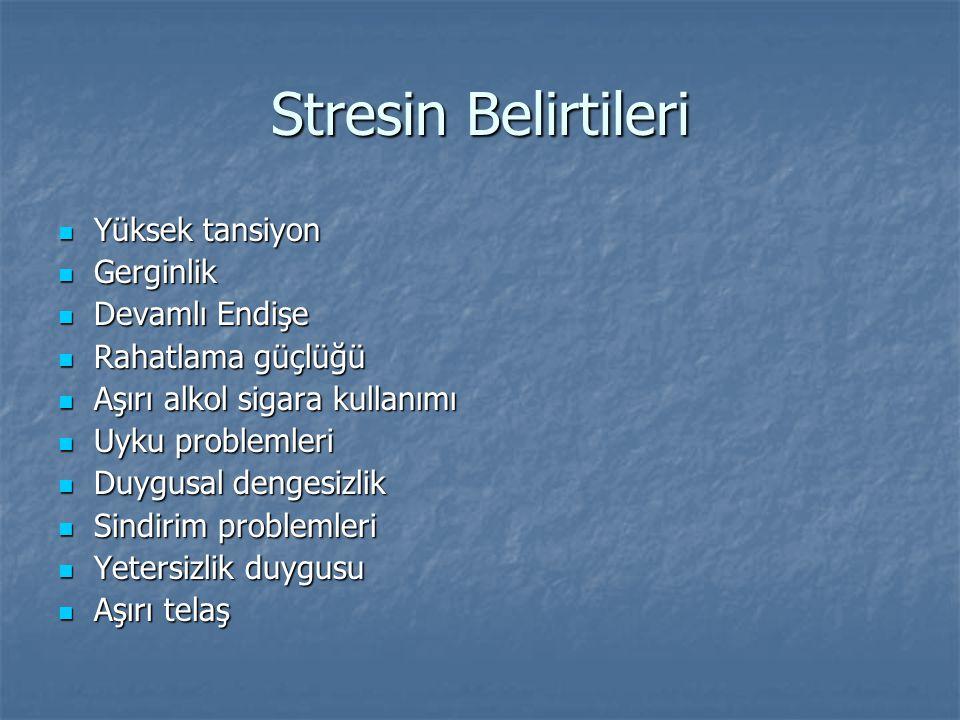 Stresin Belirtileri Yüksek tansiyon Gerginlik Devamlı Endişe