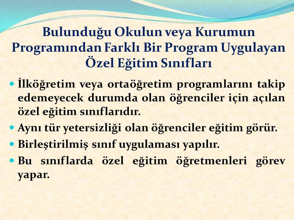 Bulunduğu Okulun veya Kurumun Programından Farklı Bir Program Uygulayan Özel Eğitim Sınıfları