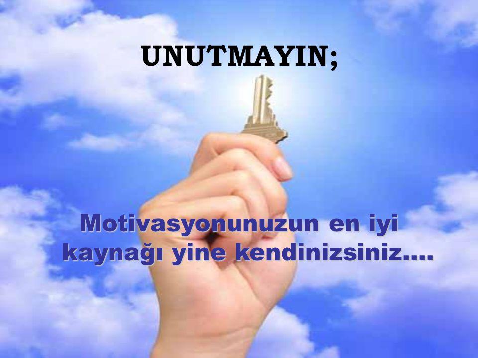 Motivasyonunuzun en iyi kaynağı yine kendinizsiniz….