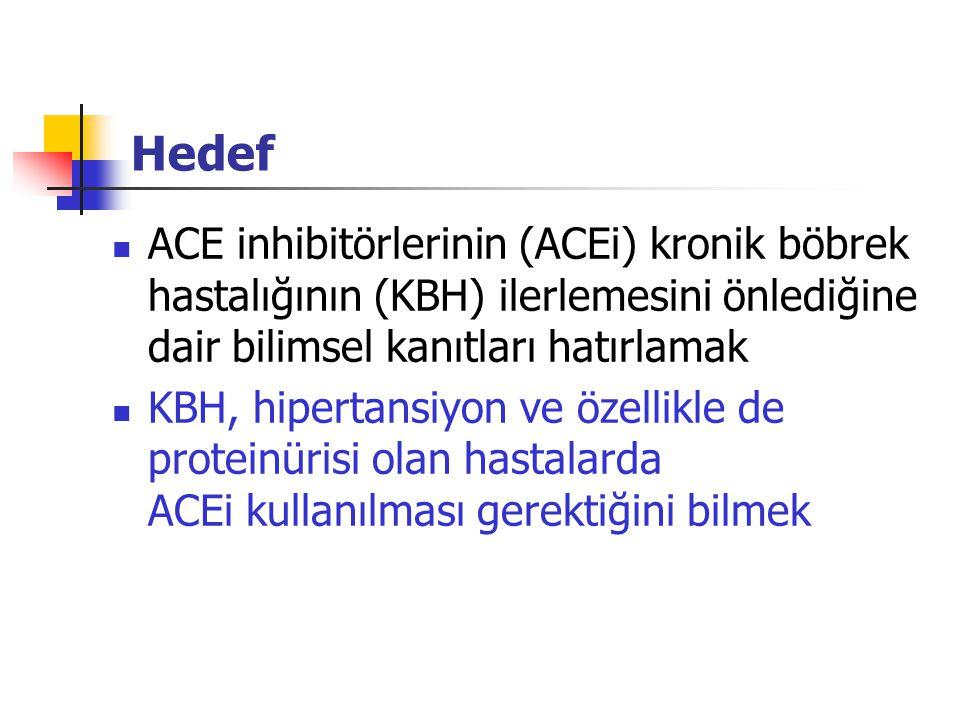 Hedef ACE inhibitörlerinin (ACEi) kronik böbrek hastalığının (KBH) ilerlemesini önlediğine dair bilimsel kanıtları hatırlamak.