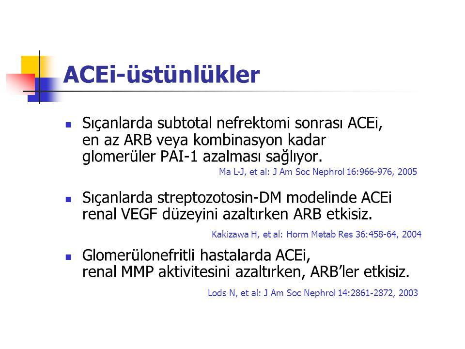 ACEi-üstünlükler Sıçanlarda subtotal nefrektomi sonrası ACEi, en az ARB veya kombinasyon kadar glomerüler PAI-1 azalması sağlıyor.