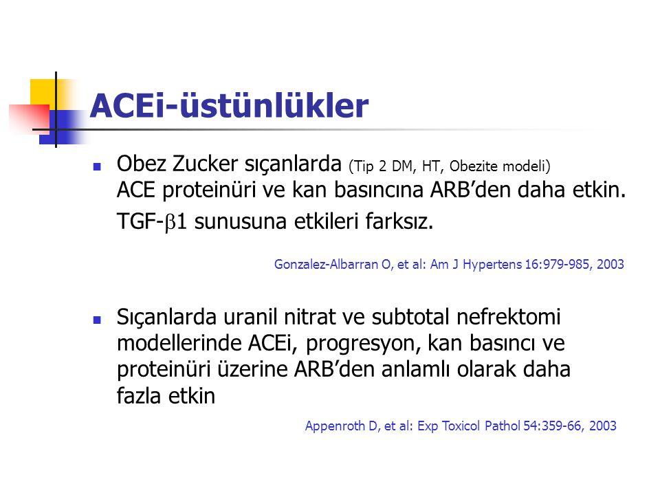 ACEi-üstünlükler Obez Zucker sıçanlarda (Tip 2 DM, HT, Obezite modeli) ACE proteinüri ve kan basıncına ARB'den daha etkin.
