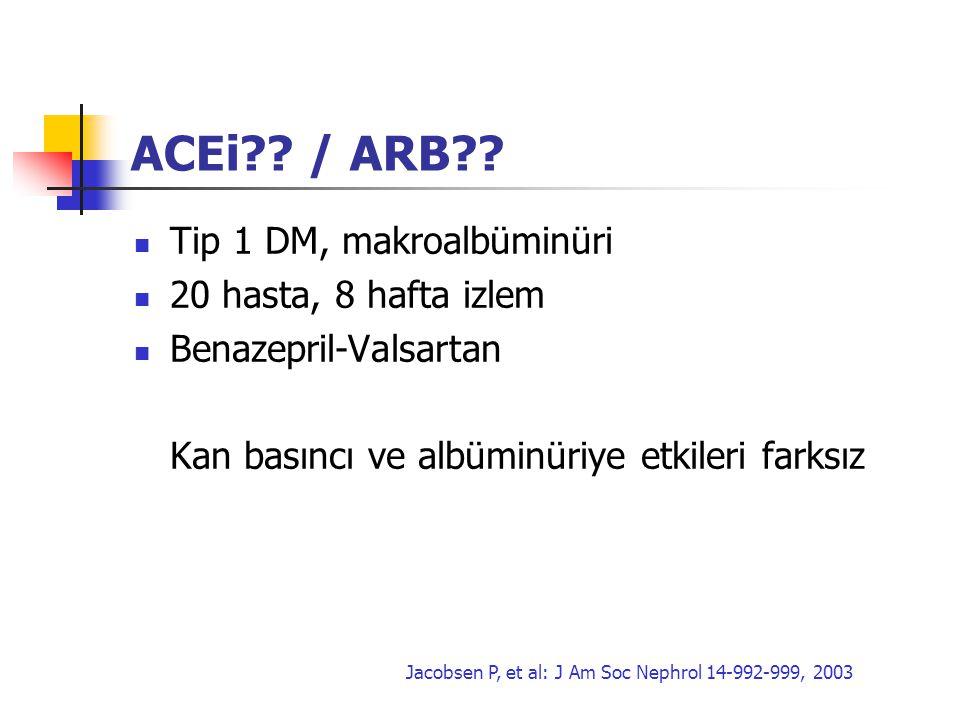 ACEi / ARB Tip 1 DM, makroalbüminüri 20 hasta, 8 hafta izlem