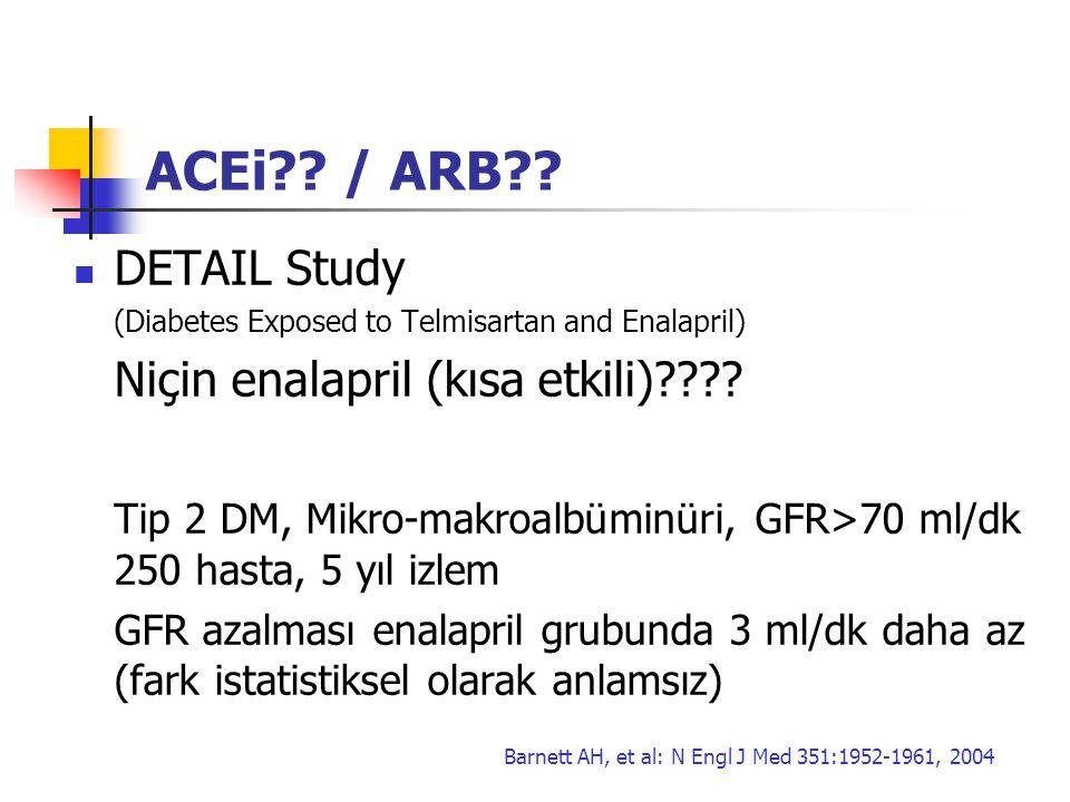 ACEi / ARB DETAIL Study Niçin enalapril (kısa etkili)