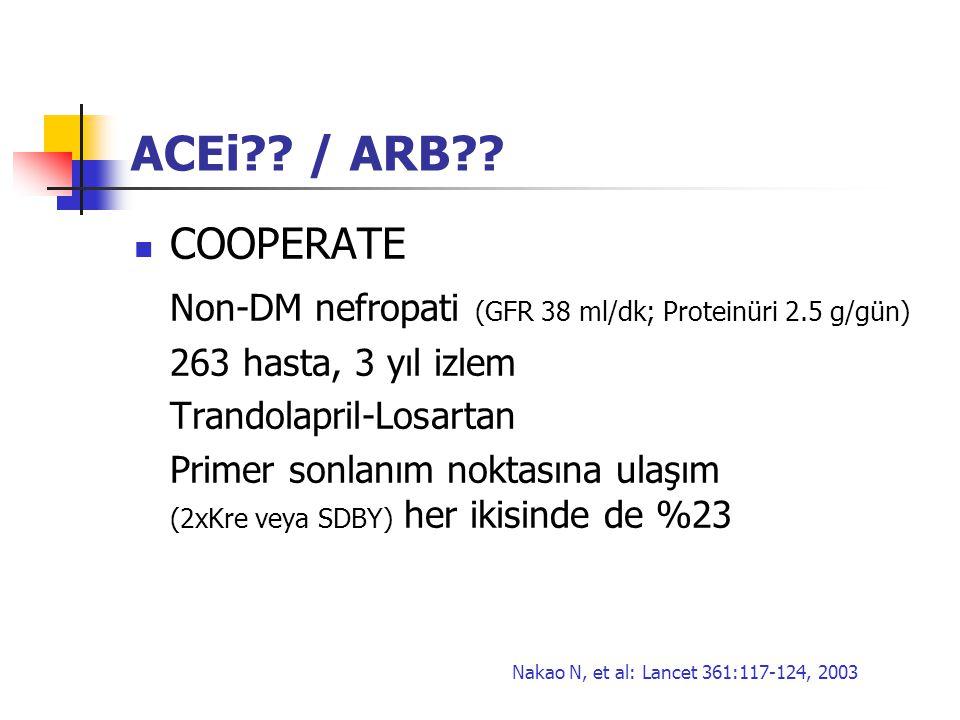 ACEi / ARB COOPERATE. Non-DM nefropati (GFR 38 ml/dk; Proteinüri 2.5 g/gün) 263 hasta, 3 yıl izlem.