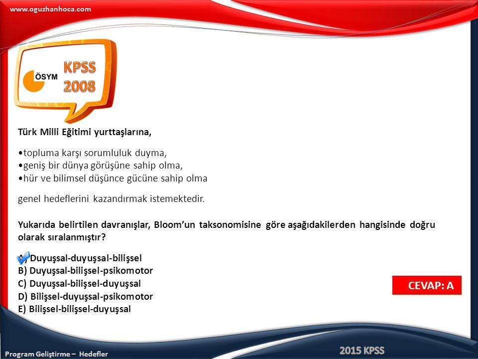KPSS 2008 CEVAP: A Türk Milli Eğitimi yurttaşlarına,
