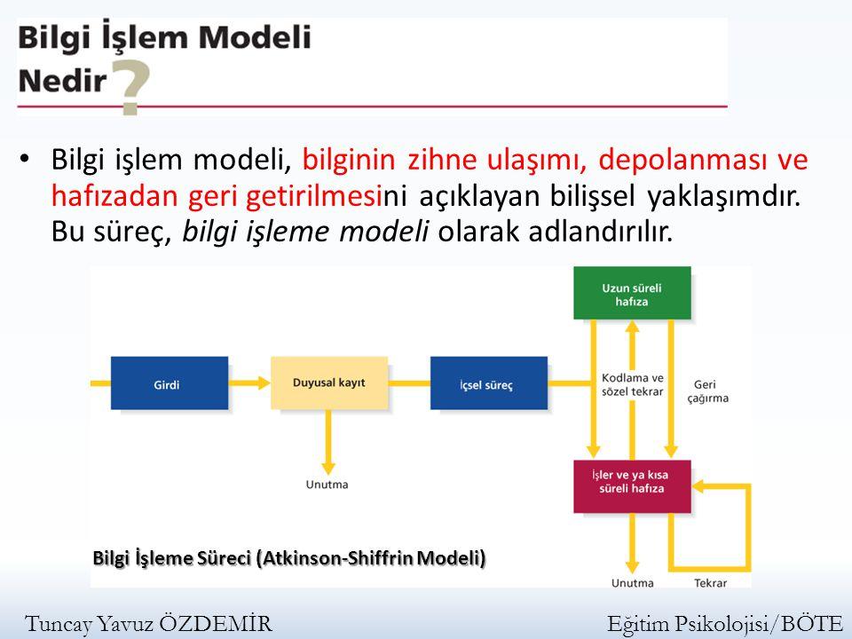 Bilgi işlem modeli, bilginin zihne ulaşımı, depolanması ve hafızadan geri getirilmesini açıklayan bilişsel yaklaşımdır. Bu süreç, bilgi işleme modeli olarak adlandırılır.