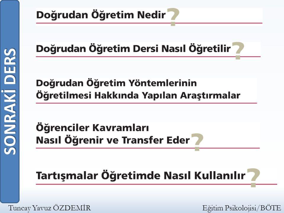 SONRAKİ DERS Tuncay Yavuz ÖZDEMİR Eğitim Psikolojisi/BÖTE.