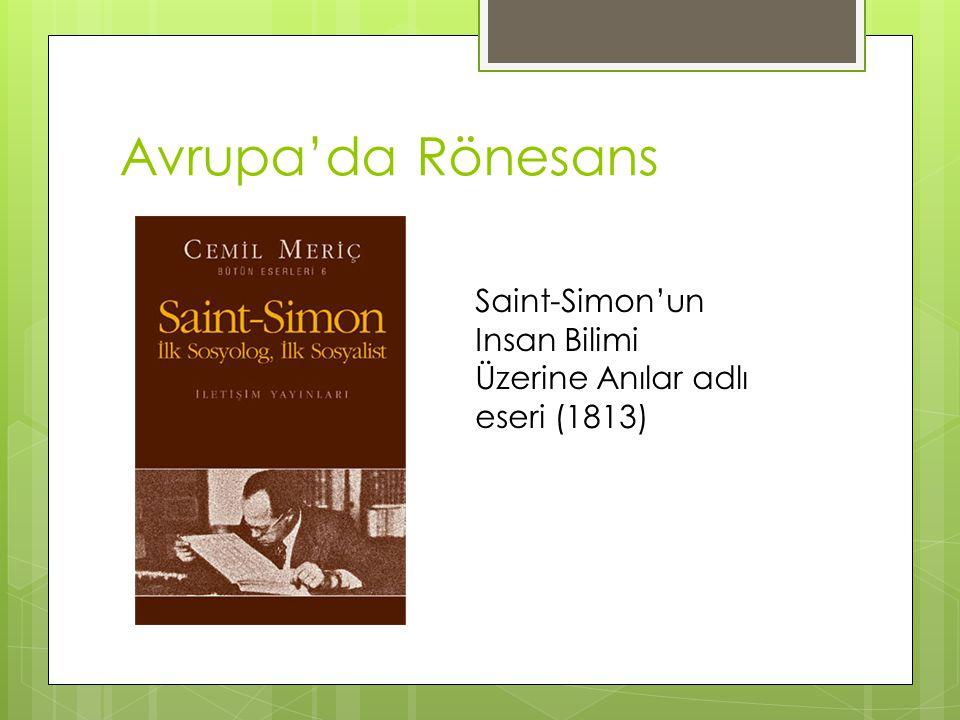 Avrupa'da Rönesans Saint-Simon'un Insan Bilimi