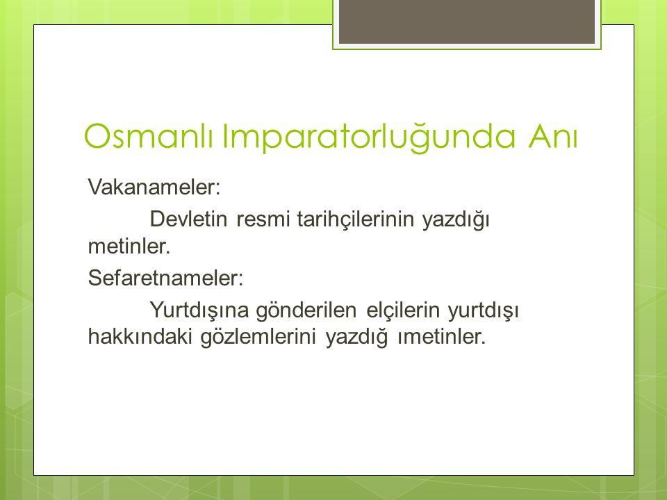 Osmanlı Imparatorluğunda Anı