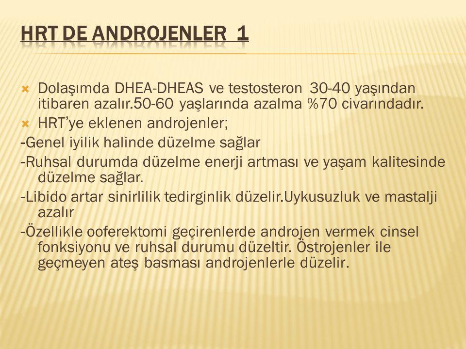 HRT de Androjenler 1 Dolaşımda DHEA-DHEAS ve testosteron 30-40 yaşından itibaren azalır.50-60 yaşlarında azalma %70 civarındadır.