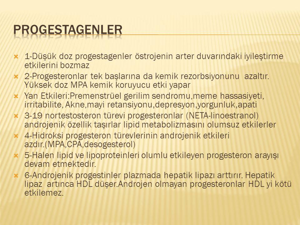 Progestagenler 1-Düşük doz progestagenler östrojenin arter duvarındaki iyileştirme etkilerini bozmaz.