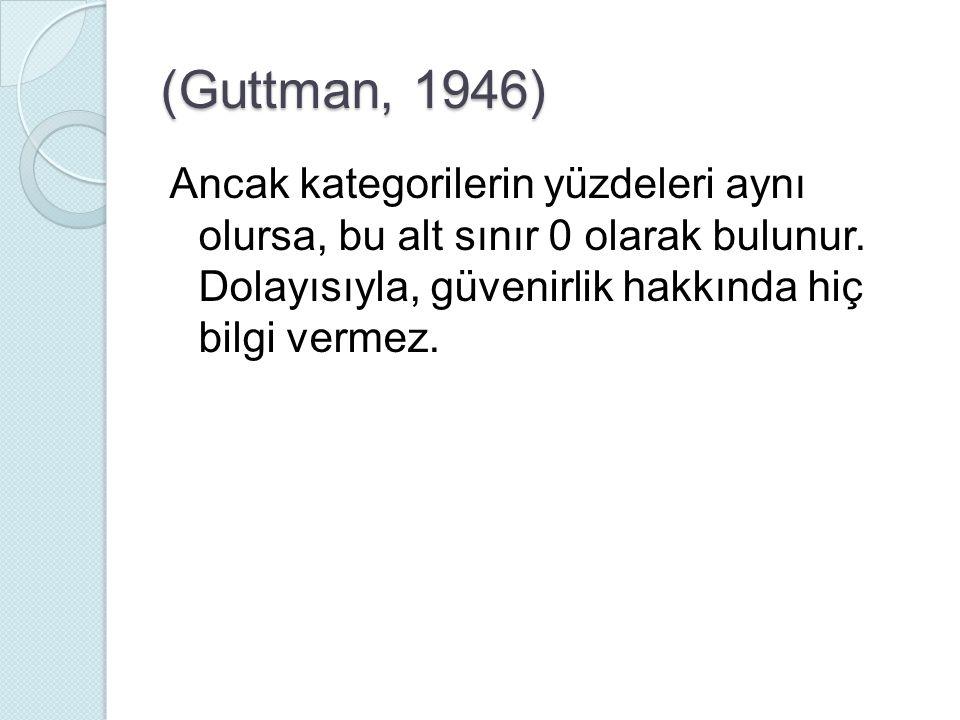 (Guttman, 1946) Ancak kategorilerin yüzdeleri aynı olursa, bu alt sınır 0 olarak bulunur.