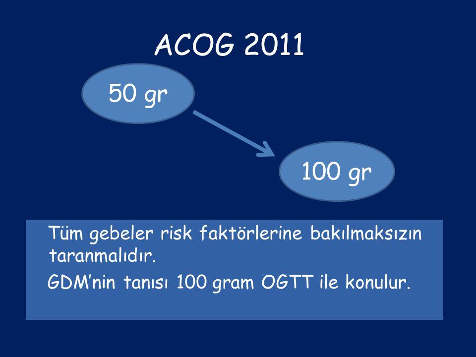 ACOG 2011 50 gr. 100 gr. Tüm gebeler risk faktörlerine bakılmaksızın taranmalıdır.