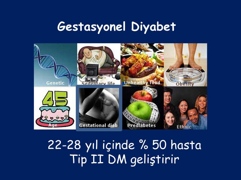 22-28 yıl içinde % 50 hasta Tip II DM geliştirir