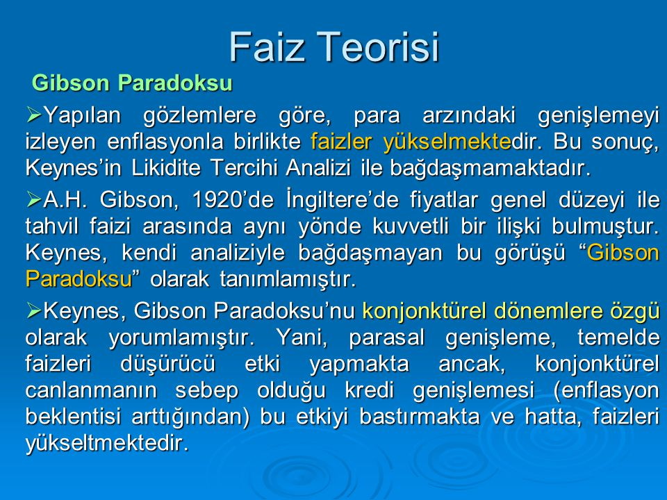 Faiz Teorisi Gibson Paradoksu