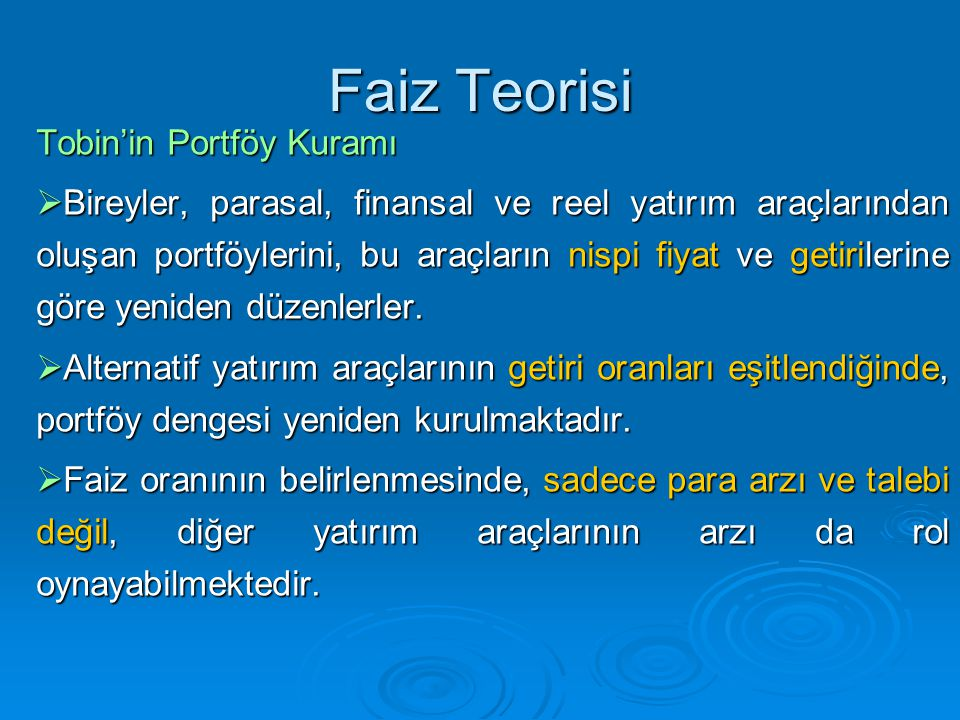 Faiz Teorisi Tobin'in Portföy Kuramı