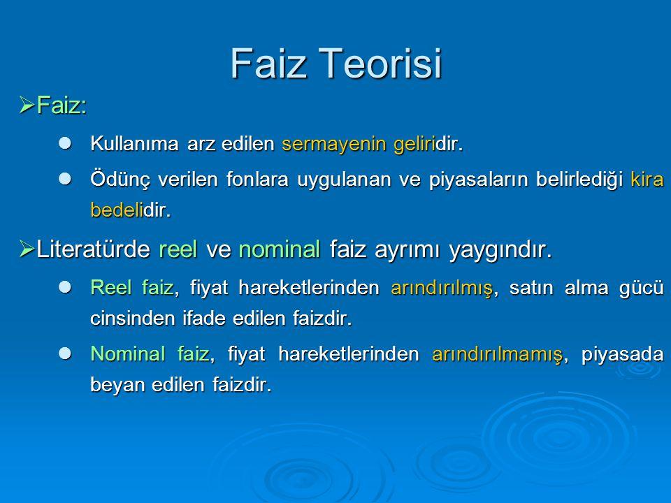 Faiz Teorisi Faiz: Literatürde reel ve nominal faiz ayrımı yaygındır.