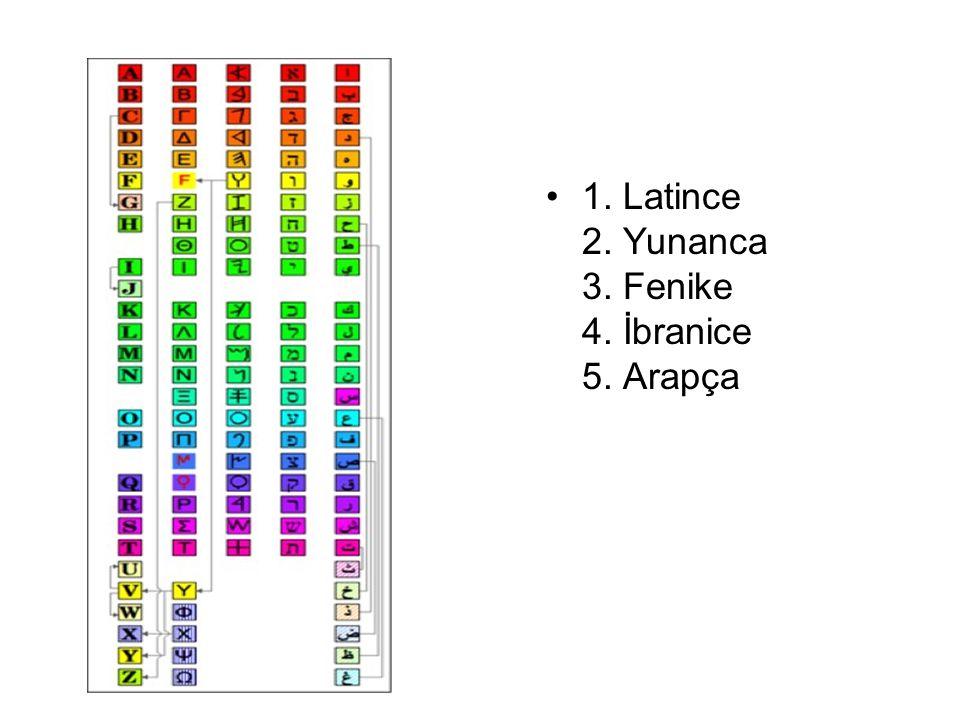 1. Latince 2. Yunanca 3. Fenike 4. İbranice 5. Arapça