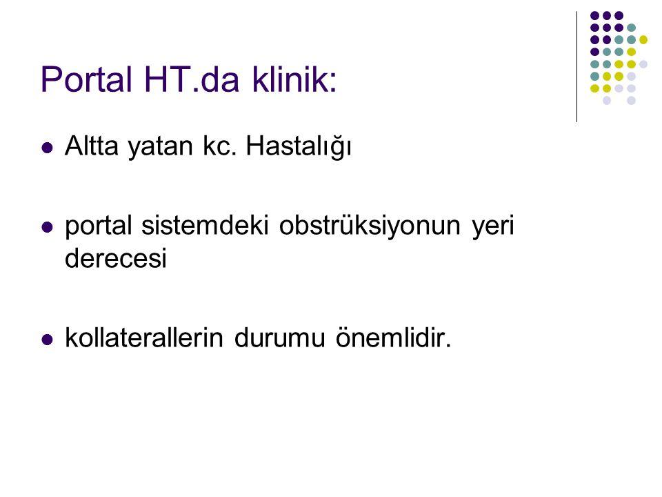 Portal HT.da klinik: Altta yatan kc. Hastalığı
