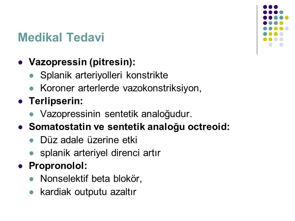 Medikal Tedavi Vazopressin (pitresin):