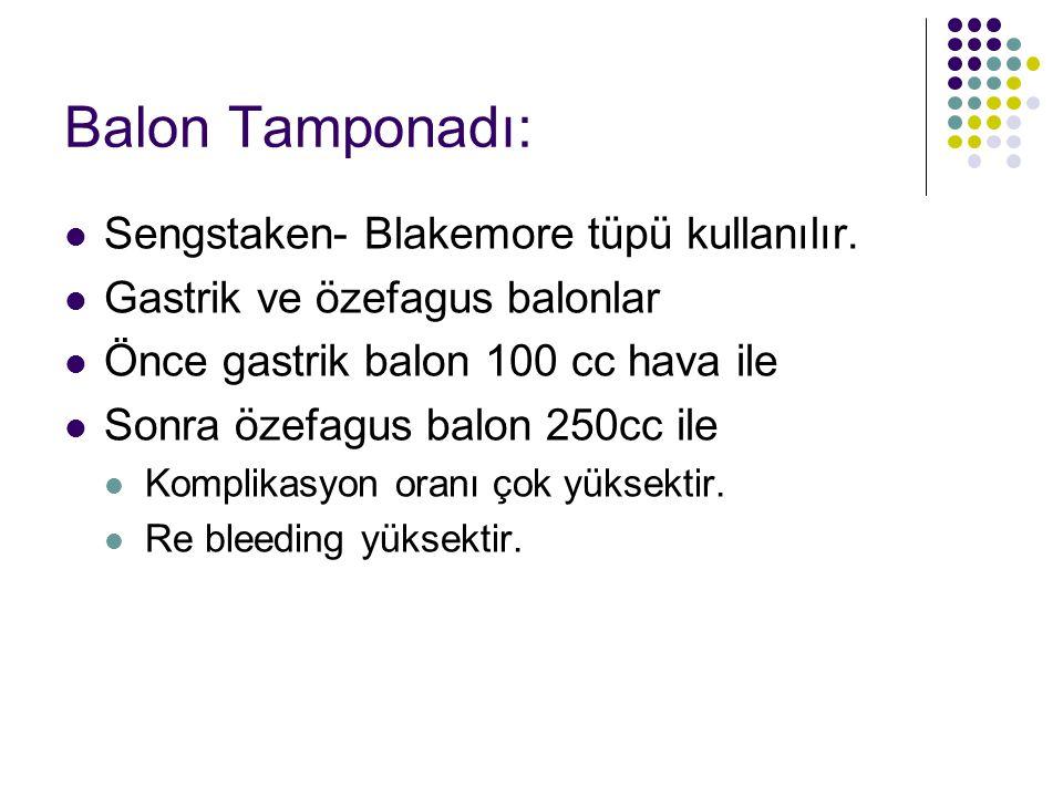 Balon Tamponadı: Sengstaken- Blakemore tüpü kullanılır.