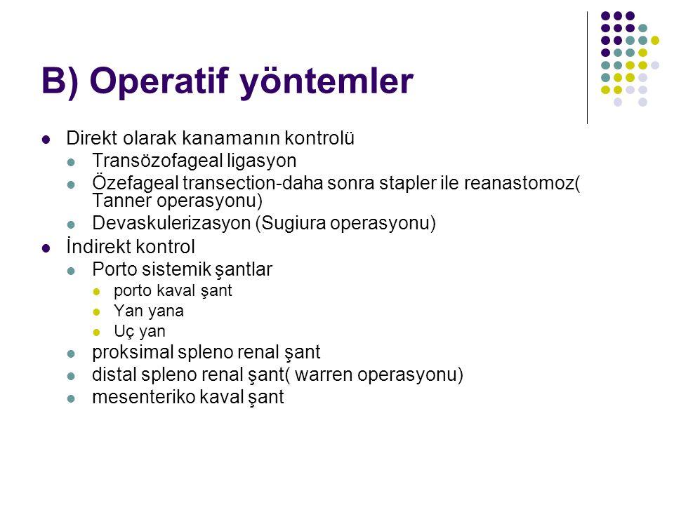 B) Operatif yöntemler Direkt olarak kanamanın kontrolü